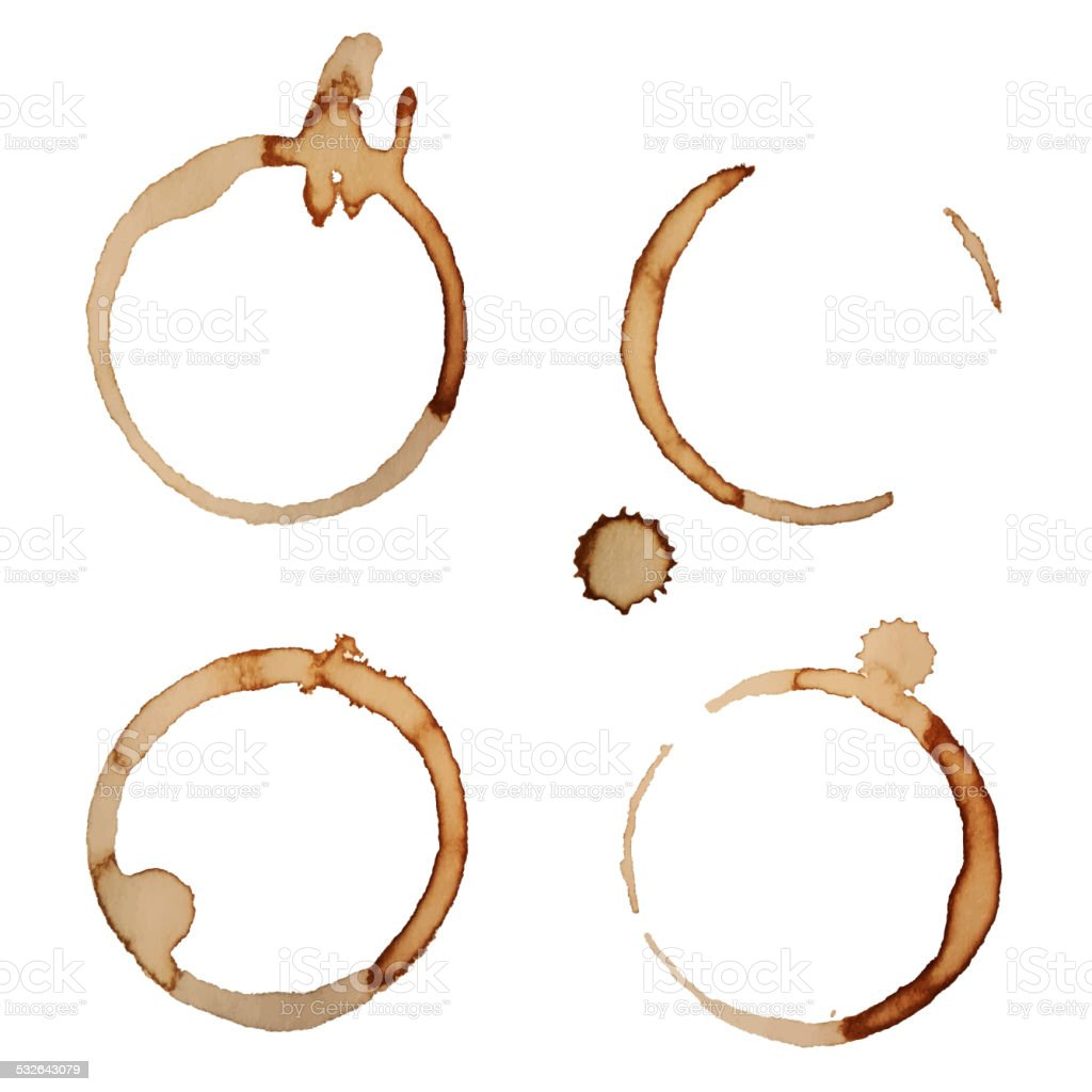 Vector Coffee Stain Rings Set 2 vector art illustration