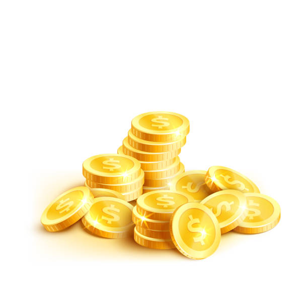 Vector coins icon of golden dollar coin cent pile Golden coins or gold cent coin pile icon. Vector isolated symbol of golden dollar coins money stack placer for casino poker jackpot win game or rich wealth and banking currency or lottery design heap stock illustrations
