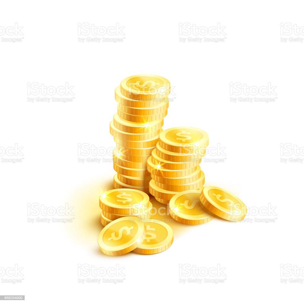 Vektor Münzen Haufen Symbol Des Goldenen Dollar Münze Cent Stock