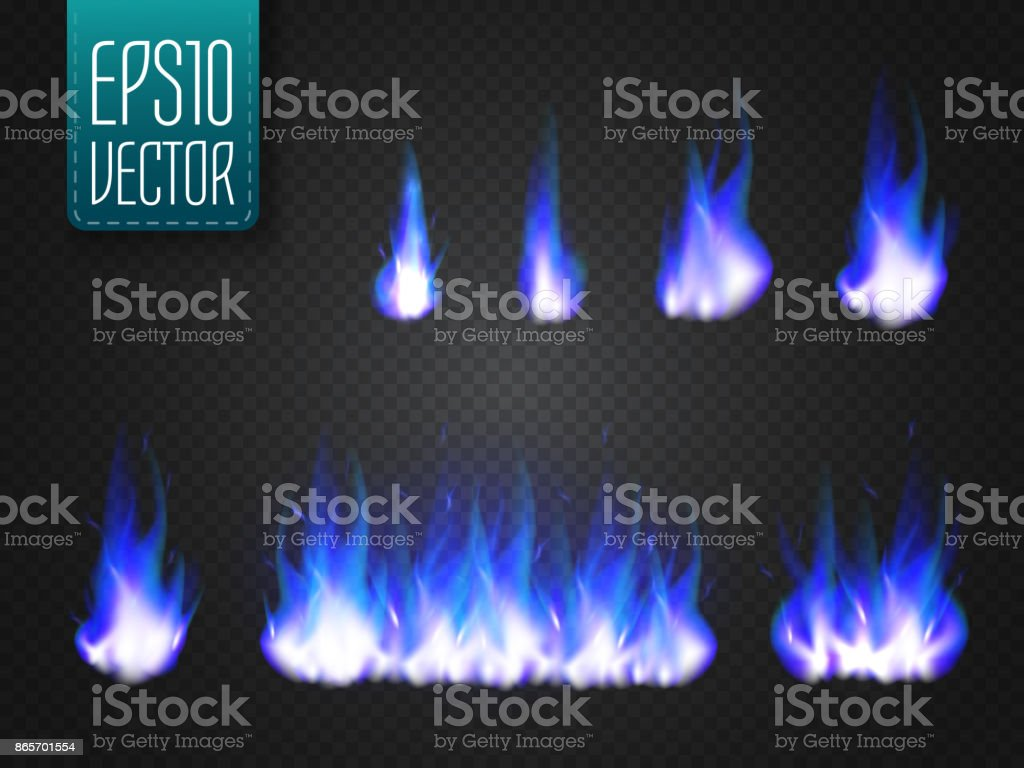 Vector cold fire flames isolated on transparent background vector art illustration