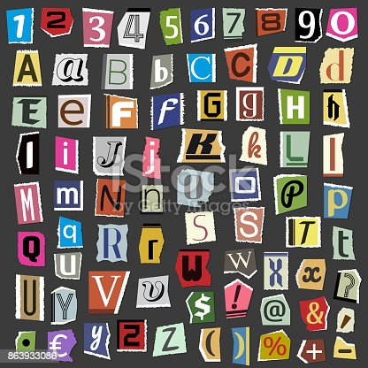 812461124istockphoto Vector collage alphabet letters made from newspaper magazine abc paper text cut type typography sign illustration 863933086