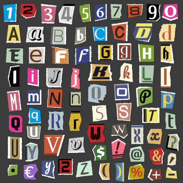 Vector collage alphabet letters made from newspaper magazine abc paper text cut type typography sign illustration vector art illustration