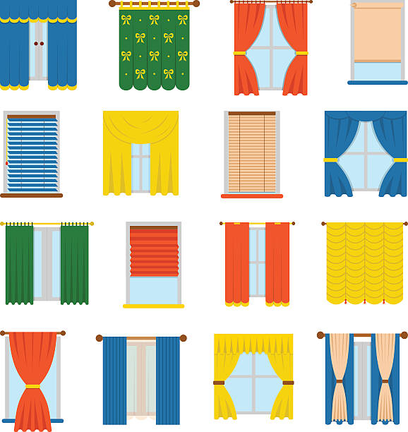 Vector collection blinds Vector collection various window treatments curtains, drapes, shades, blinds. Flat style blinds flat jalousie vector. Glass decoration blinds vector and interior classic style blinds vector. hunting blind stock illustrations
