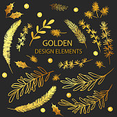 Vector Collection Gold Foil Christmas Holiday Florals. Set of golden fir, spruce, pine branches. Gold Christmas card design elements with winter plants, flowers, branches. Elegant vintage pattern.