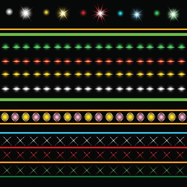 illustrations, cliparts, dessins animés et icônes de collection de vecteur de lumières de vacances - enluminure bordure