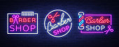 Vector collection icons neon sign barber shop for your design. For a label, a sign, a sign or an advertisement. Hipster Man, Hairdresser icon. Neon billboard, brightsign, luminous banner