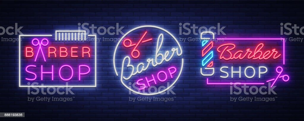 Vector collection icons neon sign barber shop for your design. For a label, a sign, a sign or an advertisement. Hipster Man, Hairdresser icon. Neon billboard, brightsign, luminous banner vector art illustration