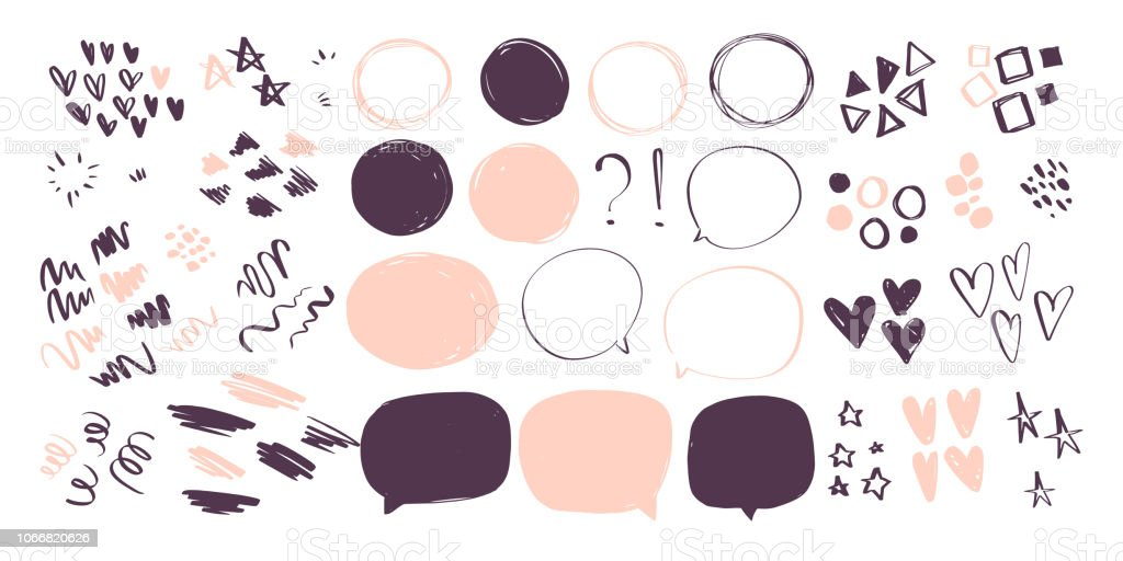 Vector collection of abstract hand drawn doodle elements in sketch style on white background - heart, star, line waves,  lipstick stroke, geometric shapes, speech bubbles. vector art illustration