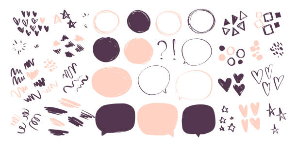 vector collection of abstract hand drawn doodle elements in sketch style on white background - heart, star, line waves,  lipstick stroke, geometric shapes, speech bubbles. - doodles stock illustrations