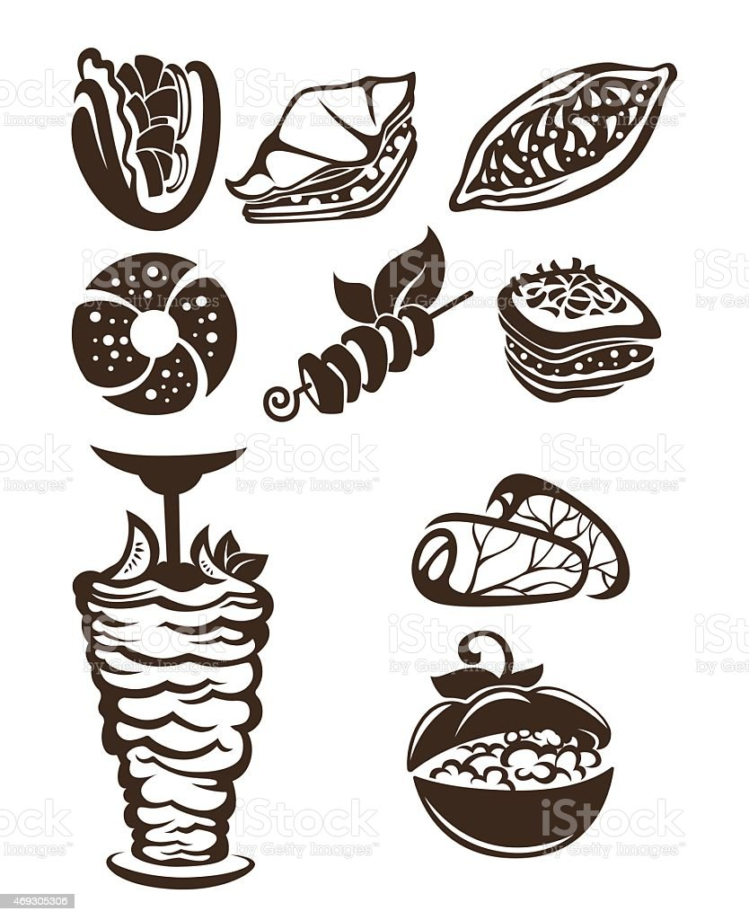 vector collection of arabian food images vector art illustration