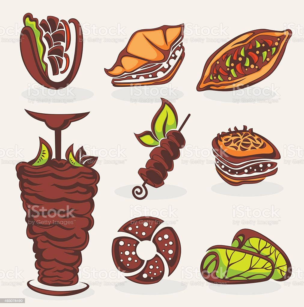 Vector Collection Of Arabian Food Images Stock Illustration
