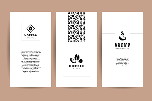 Vector collection of artistic cards with coffee emblems &  , hand drawn coffee beans & seeds, textures & patterns.