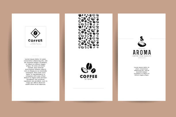 Vector collection of artistic cards with coffee emblems &  , hand drawn coffee beans & seeds, textures & patterns. Vector collection of artistic cards with coffee emblems &  , hand drawn coffee beans & seeds, textures & patterns. Coffee company shop insignia design. cafe stock illustrations