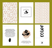 Vector collection of artistic cards with coffee emblems & logo, hand drawn coffee beans & seeds, textures & patterns. Coffee company shop insignia design.
