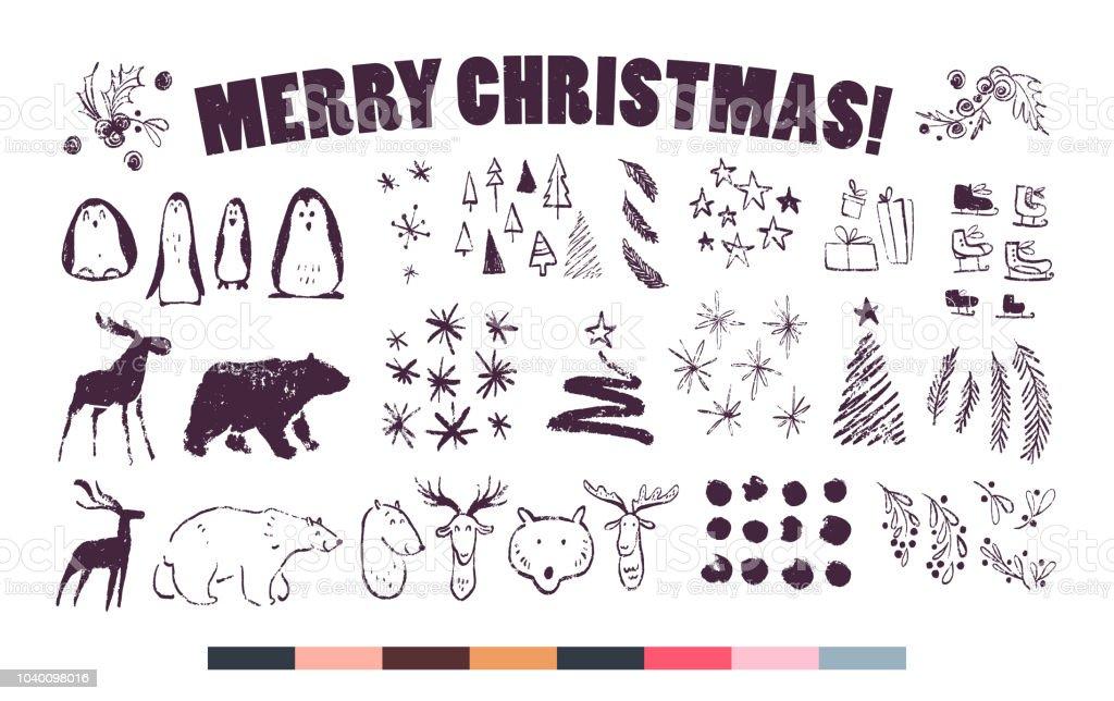Vektorsammlung Von Künstlerischen Hand Gezeichneten Weihnachten ...