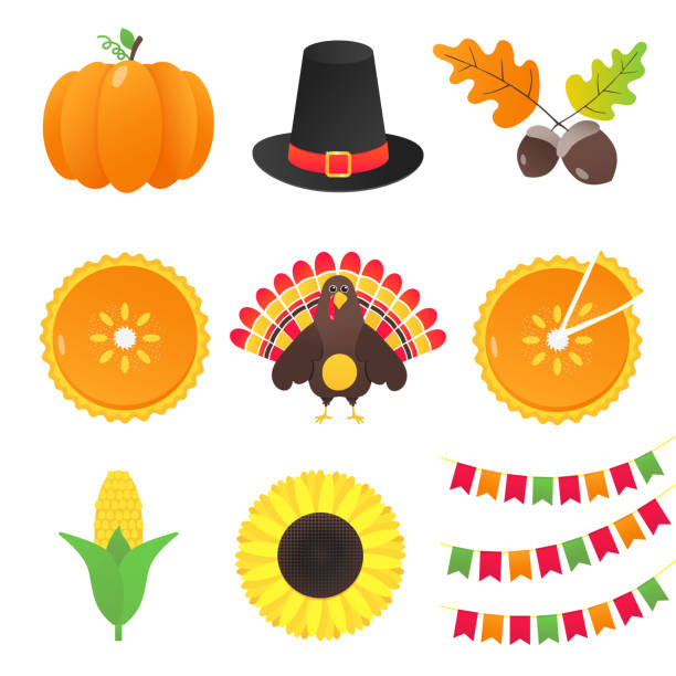 vector collection of autumn elements and thanksgiving day things set flat style design gradient version isolated on white background. pumpkin, pilgrim hat, acorn, pie, turkey, corn, flags, sunflower. - pumpkin pie stock illustrations