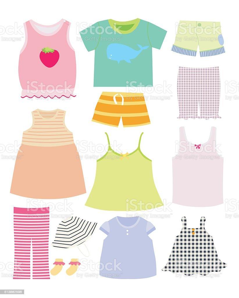 ベクトルコレクションの赤ちゃんと子供服のコレクションです