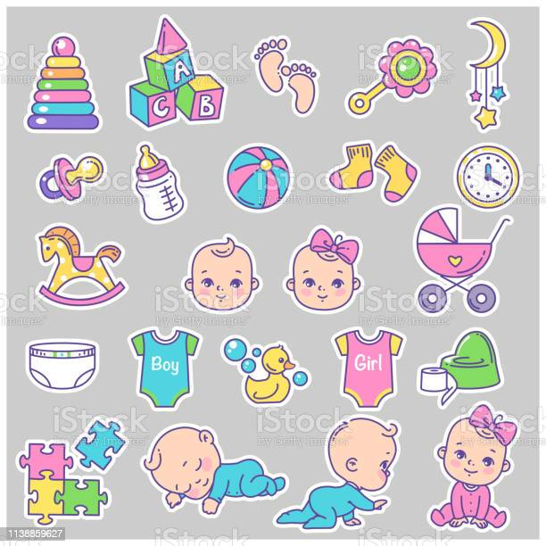 Vector collection of baby icons stickers vector id1138859627?b=1&k=6&m=1138859627&s=612x612&h=fllnqj0h7jpfbzvea3hqjarb0x3owwe7cvyoo5ix5is=