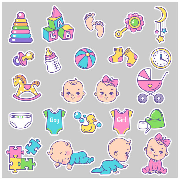 赤ちゃんのアイコン、ステッカーのベクターコレクション。 - 赤ちゃん点のイラスト素材/クリップアート素材/マンガ素材/アイコン素材