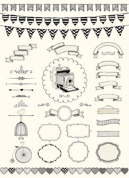 illustrations, cliparts, dessins animés et icônes de vector collection de bannières, rubans et images - dessin cage a oiseaux