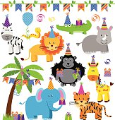 Vector Collection of Birthday Party Themed Jungle, Zoo or Safari Animals.