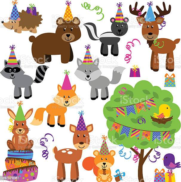 Vector collection of birthday party themed forest or woodland animals vector id497079381?b=1&k=6&m=497079381&s=612x612&h=fx0gdrva tnfso5reojt5zqehld7xuknp8ikvp98fcq=