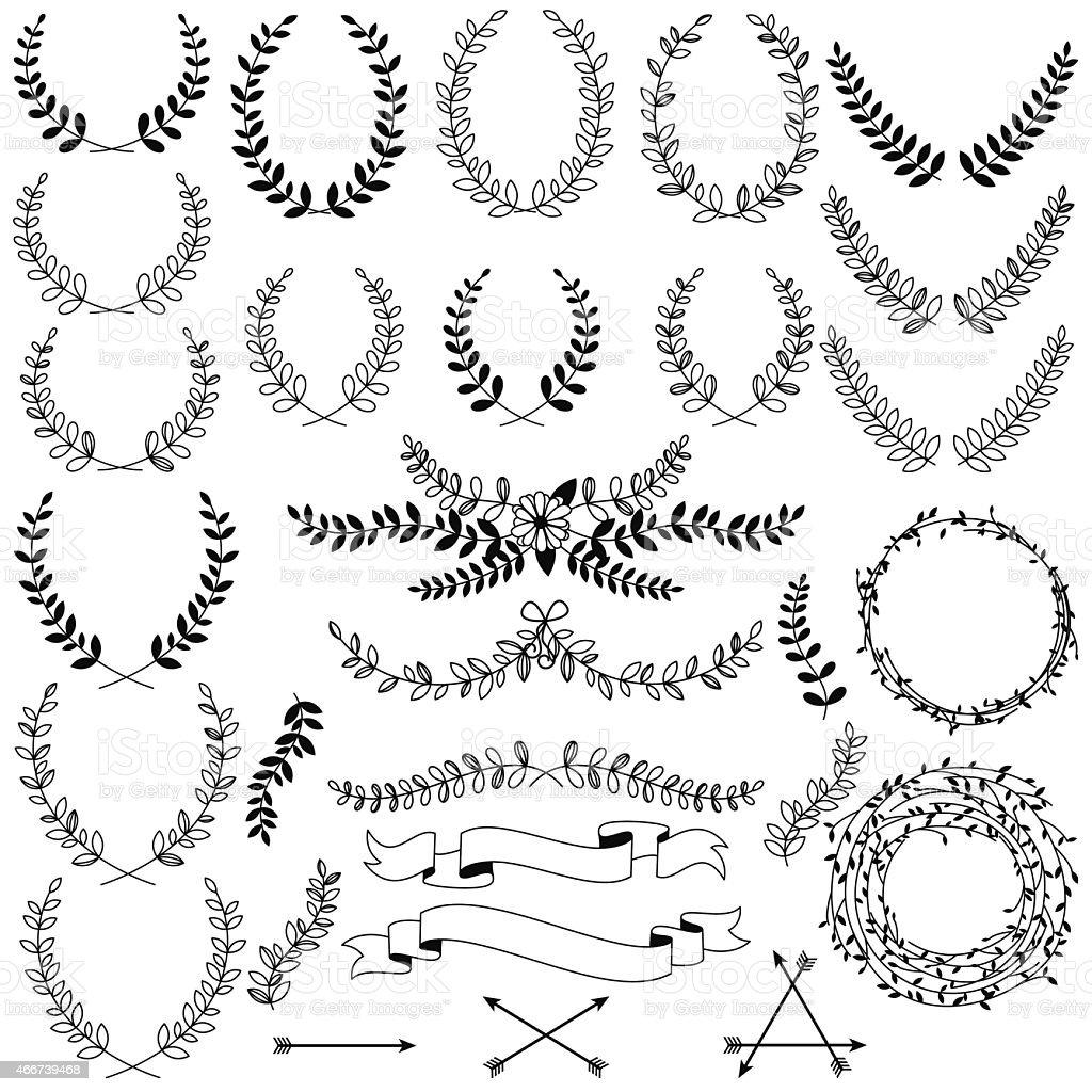 Vektor-Sammlung von Schwarz Linie Lorbeeren, florale Elemente und Banner – Vektorgrafik