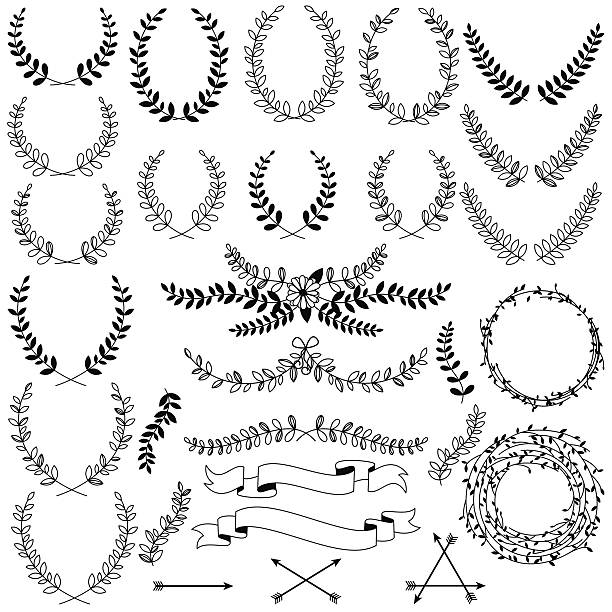 vector collection of black line laurels, floral elements and banners - laurel leaf stock illustrations, clip art, cartoons, & icons