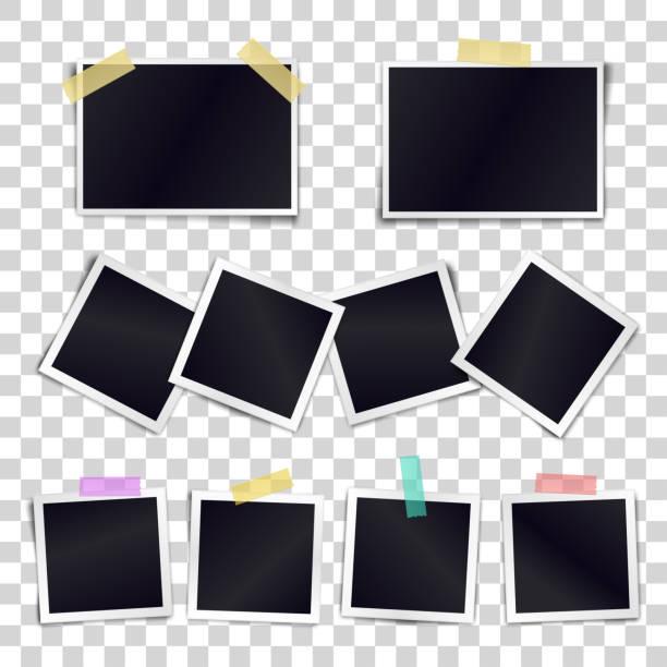 vektor-sammlung von leeren bilderrahmen sticked auf klebeband auf transparenten hintergrund. vorlage-mockups für design. - palettenbilderrahmen stock-grafiken, -clipart, -cartoons und -symbole