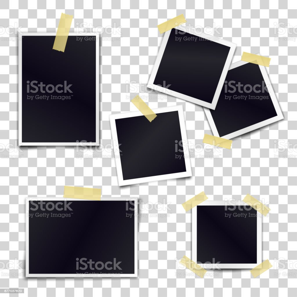 Vector Collection of blank photo frames sticked on duct tape to transparent background. Template mockups for design. vector art illustration