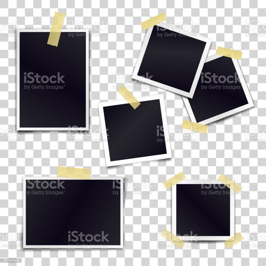 Vector Collection de cadres de photo blanche collées sur du ruban adhésif à fond transparent. Maquettes de modèle pour la conception. - Illustration vectorielle