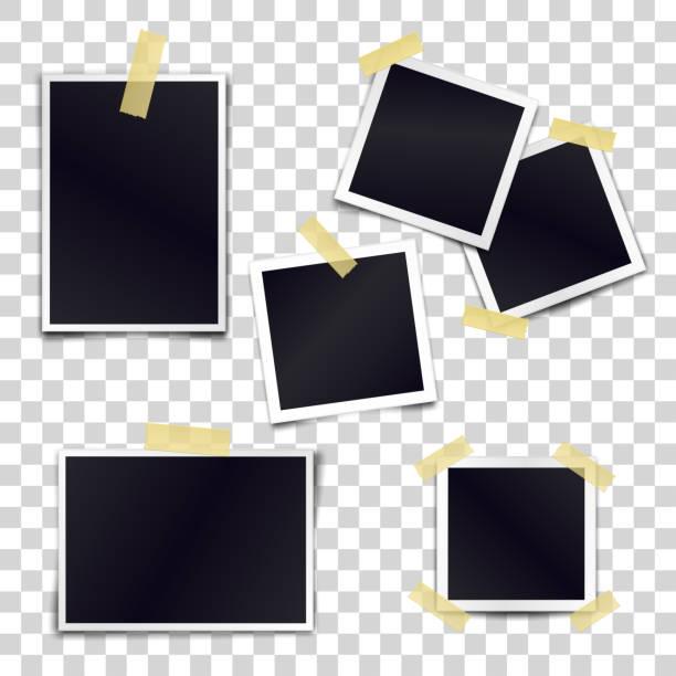illustrazioni stock, clip art, cartoni animati e icone di tendenza di vector collection of blank photo frames sticked on duct tape to transparent background. template mockups for design. - foto
