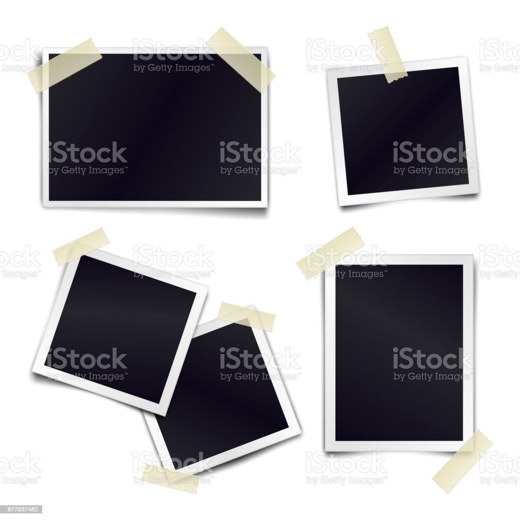 Vector Collection of blank photo frames sticked on duct tape to white background. Template mockups for design. vector art illustration