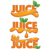 vector collection of bright and shine icon, stickers, emblems and banners for orange fresh juice