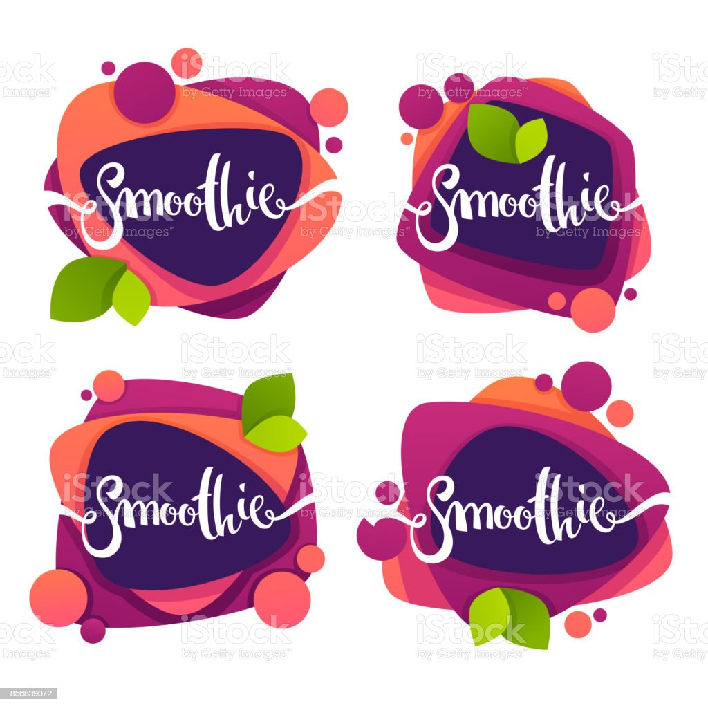 vector collection of bright and shine  stickers, emblems and banners for smoothie and juice vector art illustration