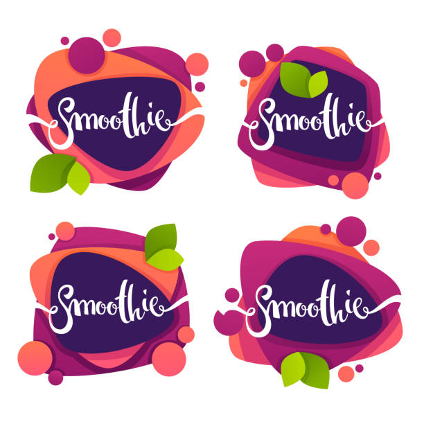 vector collection of bright and shine  stickers, emblems and banners for smoothie and juice - bubble fonts stock illustrations
