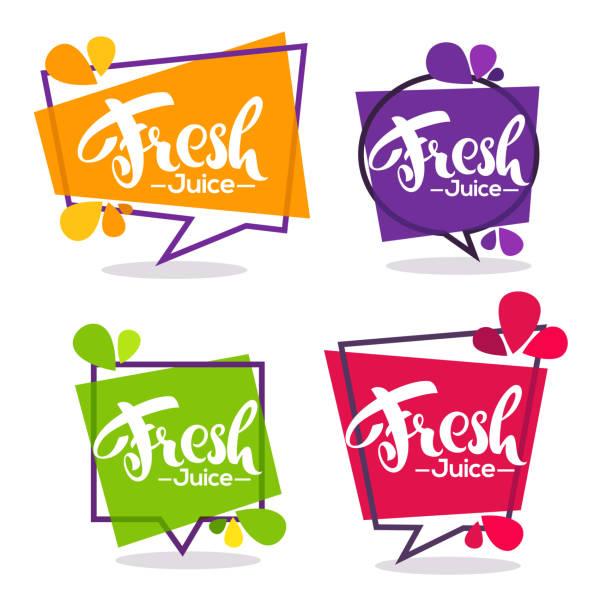 illustrazioni stock, clip art, cartoni animati e icone di tendenza di vector collection of bright geometric frames  stickers, emblems and banners for fruit and berry fresh juice - healthy green juice