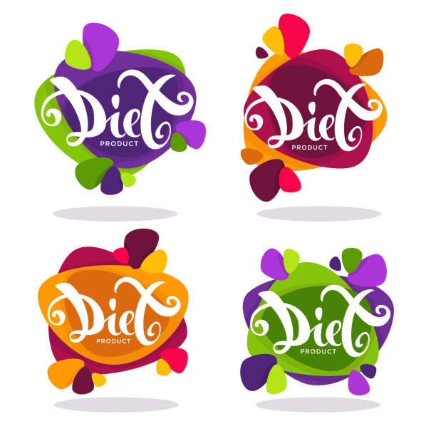 illustrazioni stock, clip art, cartoni animati e icone di tendenza di vector collection of bright  stickers, emblems and banners with diet lettering composition - healthy green juice