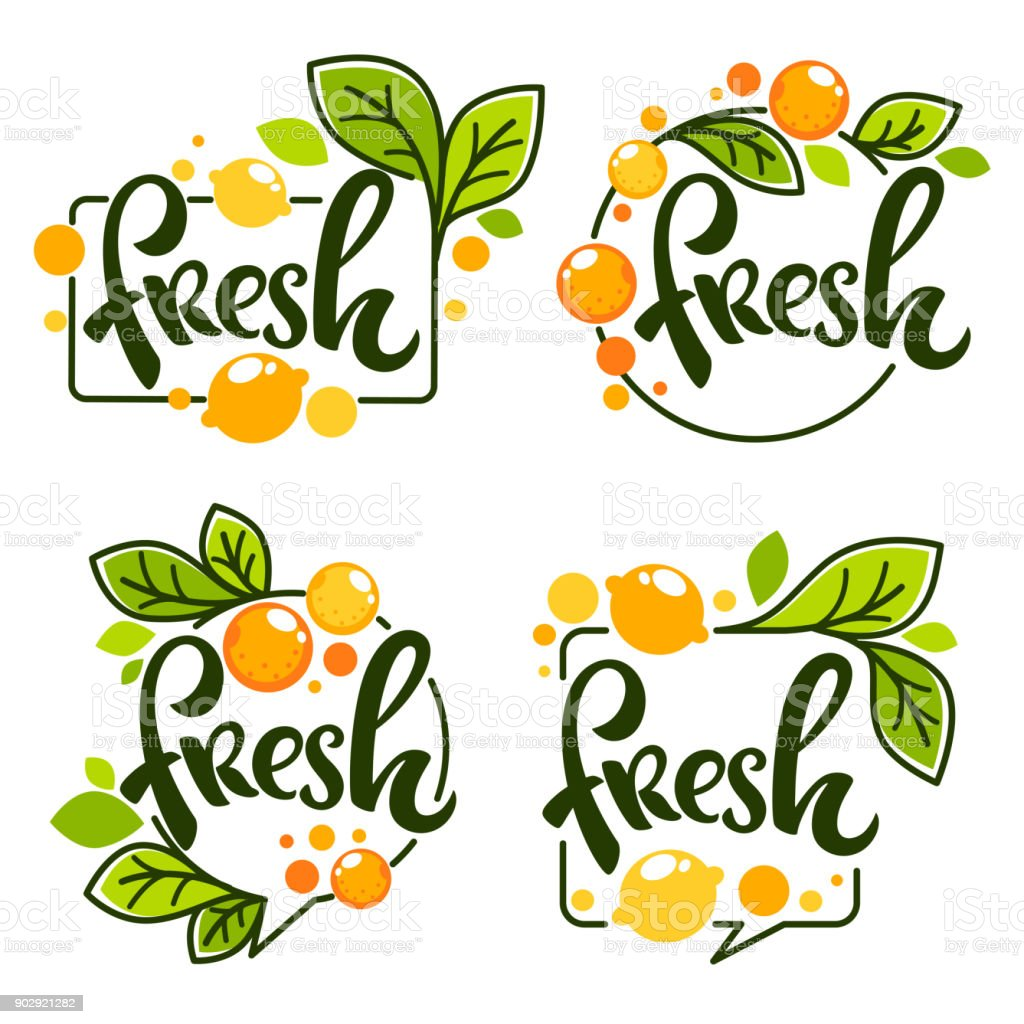 vector collection of bright   stickers, emblems icon and labels for lemon and orange fresh citrus juice with lettering composition vector art illustration