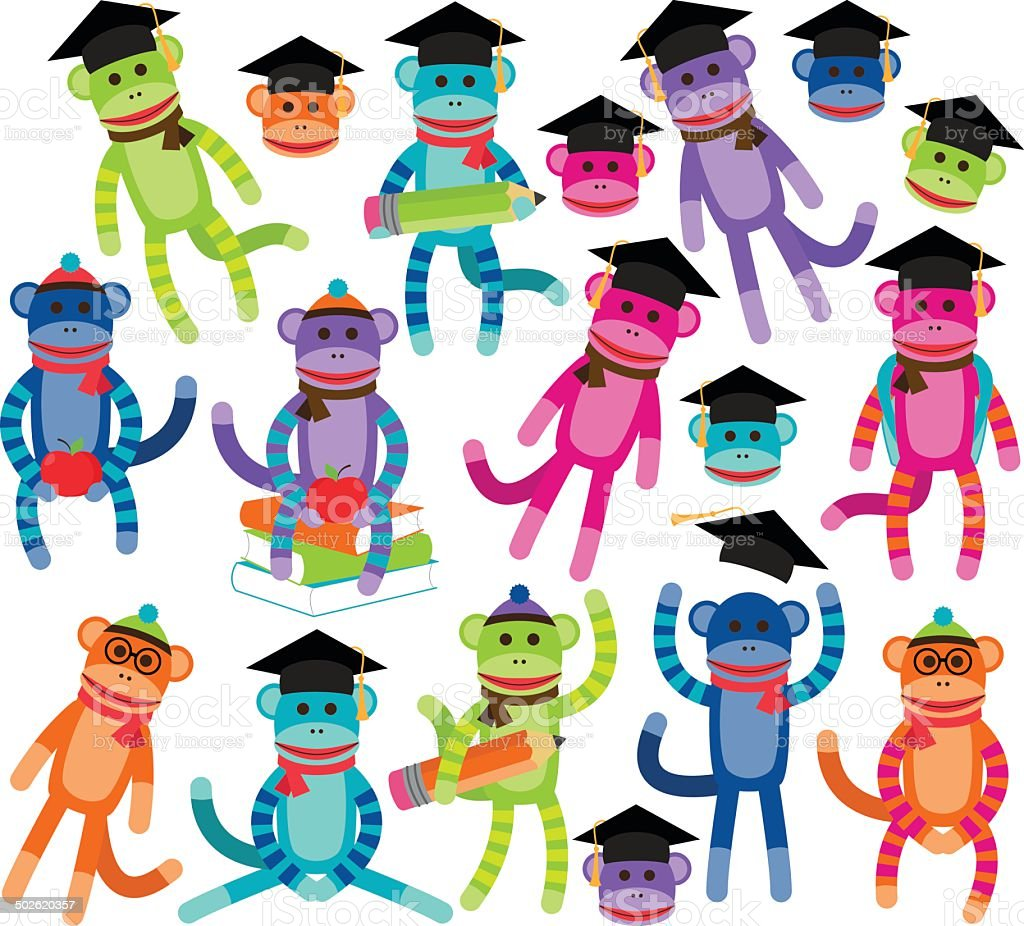 Vector Collection of Brightly Colored School Sock Monkeys vector art illustration