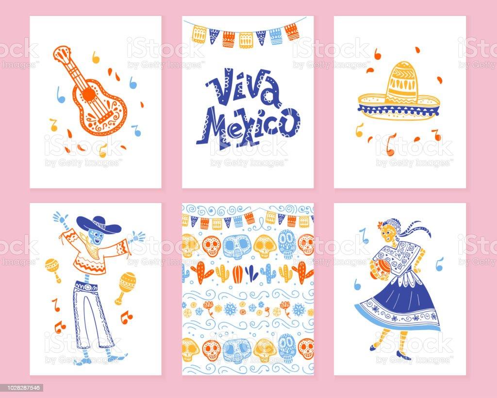 Colección de vectores de tarjetas con decoración tradicional para el día de México partido de muertos, dia de los muertos celebración en piso estilo dibujado a mano. - ilustración de arte vectorial