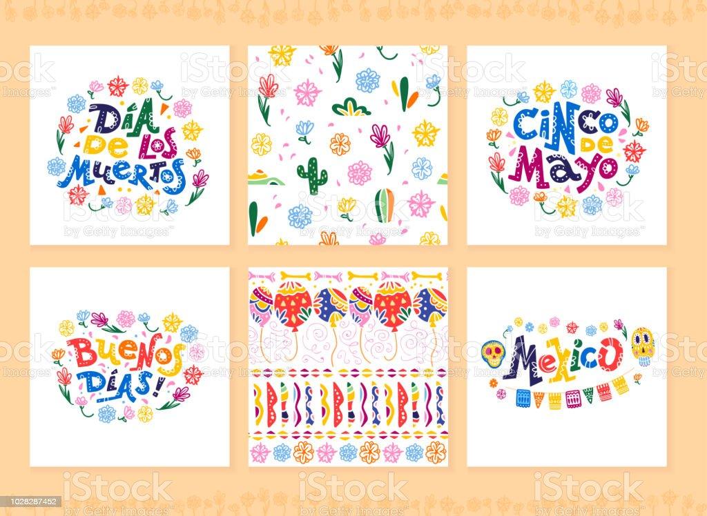 Colección de vectores de tarjetas con decoración tradicional para el partido México, carnaval, celebración, souvenirs, evento de fiesta de estilo plano dibujado a mano. - ilustración de arte vectorial