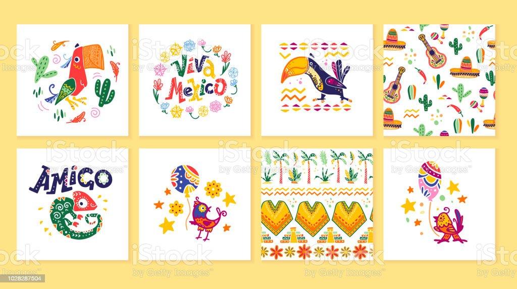 Colección de vectores de tarjetas con decoración tradicional para el partido México, carnaval, celebración, evento de fiesta de estilo plano dibujado a mano. - ilustración de arte vectorial
