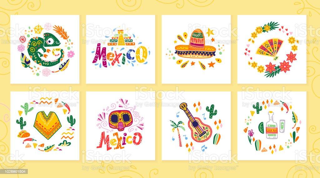 Vector conjunto de tarjetas con decoración tradicional México fiesta, carnaval, celebración, evento de fiesta de estilo plano dibujado a mano. - ilustración de arte vectorial