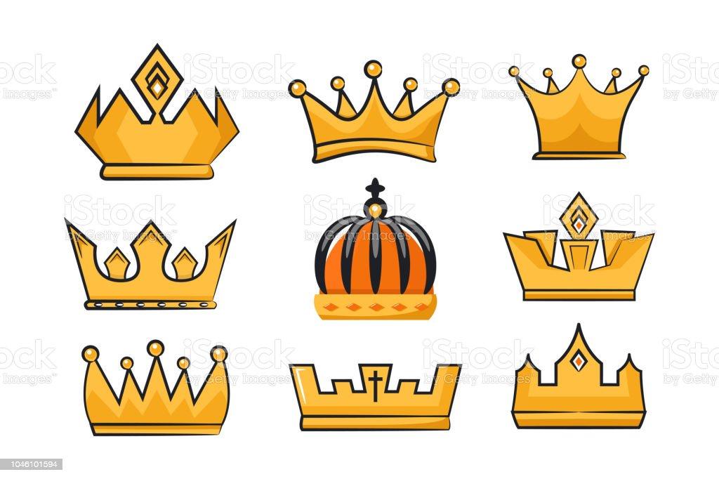 Ilustración De Colección De Vectores De Coronas De Rey Y Reina De