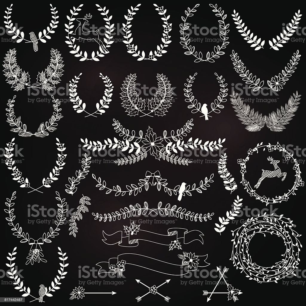 Vector Collection of Chalkboard Christmas Holiday Themed Laurels and Wreaths vector art illustration