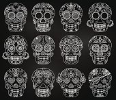 Vector Collection of Chalkboard Day of the Dead Skulls