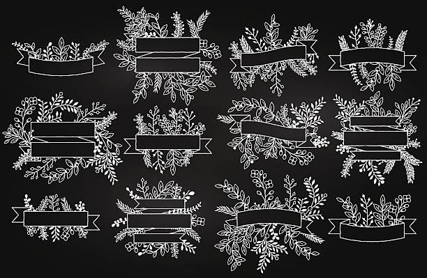 vektor-sammlung von tafel banner mit - blumengirlanden stock-grafiken, -clipart, -cartoons und -symbole