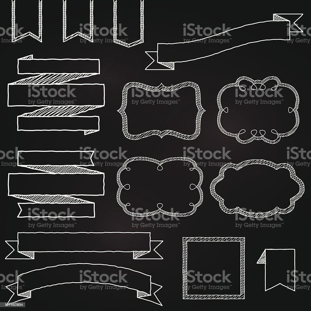 Vector Collection of Chalkboard Style Banners, Ribbons and Frames royalty-free vector collection of chalkboard style banners ribbons and frames stock vector art & more images of backgrounds