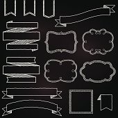 Vector Collection of Chalkboard Style Banners, Ribbons and Frames